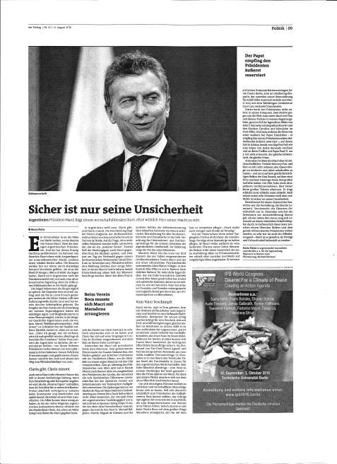 Nota-retrato de Macri en Der Freitag, de Berlín, Alemania. Jueves 11 de agosto de 2016.